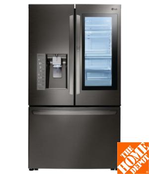 LG Electronics 24 cu. ft. 3-Door French Door Refrigerator with InstaView Door-in-Door in Black Stainless Steel, Counter Depth